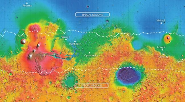 Mars Special Regions Map - NASA