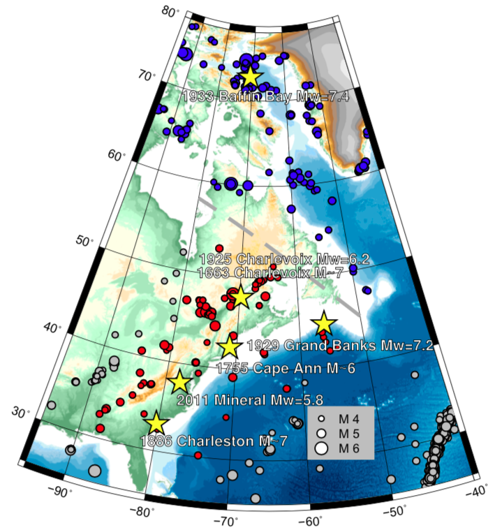 Locations of known major earthquakes in eastern North America (since 1985) and major earthquakes prior to that noted. From Neely and others (2018).