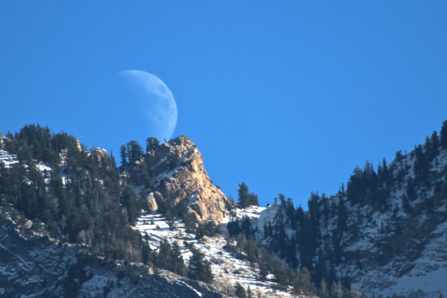 Moonrise Wasatch mountains - NASA