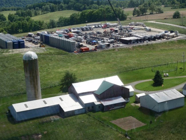 A Marcellus shale gas extraction well pad and farm in Pennsylvania.