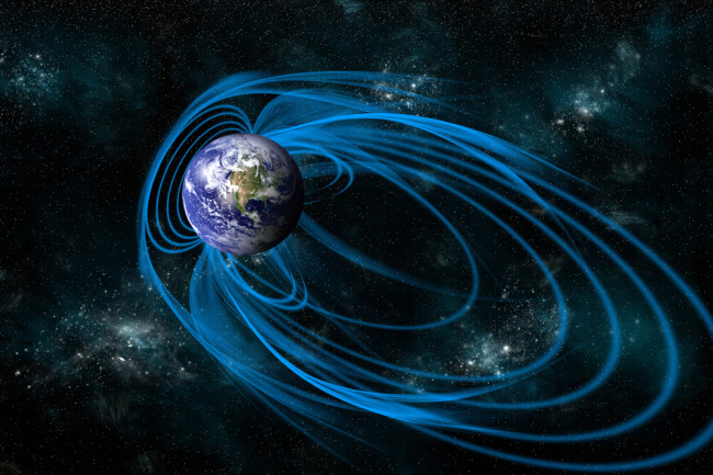 An artist's depiction of the magnetic lines of force surrounding Earth known as the magnetosphere. - Elements of this image furnished by NASA - shutterstock