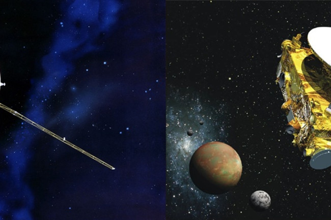 Voyager (left) launched in 1977; New Horizons (right) launched in 2006. The two missions have a curiously interconnected past. (Credit: NASA/JPL; NASA)