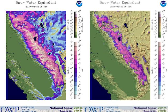 Sierra Neva Snow Water Equivalent