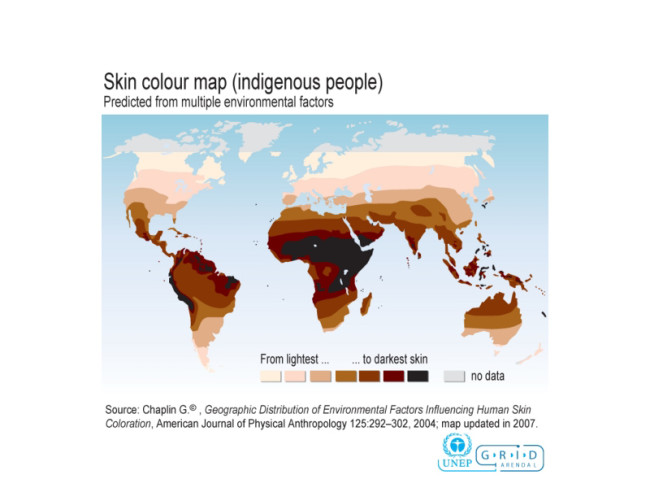 skin color map around world - UNEP