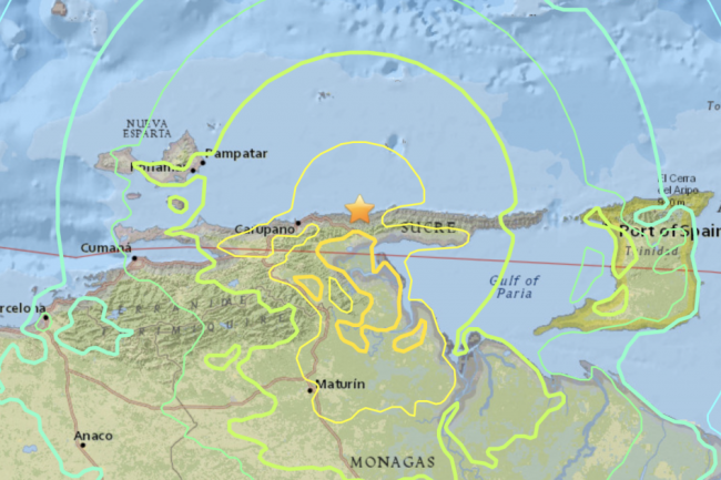 Map of shaking felt by the M7.3 earthquake in Venezuela on August 21, 2018. USGS.