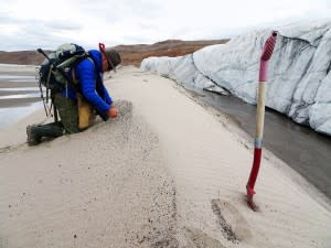 Research Kurt Kjær kneels on all fours on a ridge of sand in front of the glacier's edge.