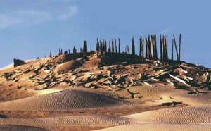 Tomb in Taklamakan Desert of western China - Courtesy