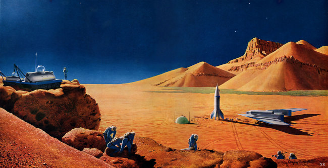 """Exploring Mars"" by Chesley Bonestell, based on ideas drawn up by Wernher von Braun. (Credit: Chesley Bonestell)"
