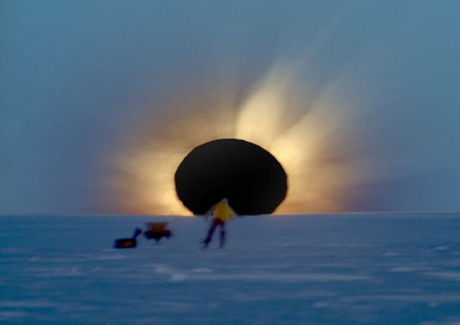 The 2003 Antarctic solar eclipse yielded this amazing photo by Fred Bruenjes this year's eclipse should be similarly photogenic. (Credit: Fred Bruenjes)