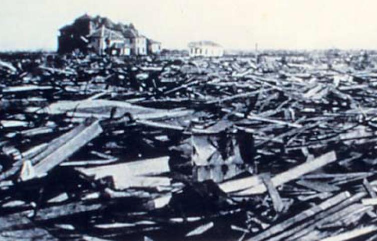 damage from galveston hurricane houses smashed