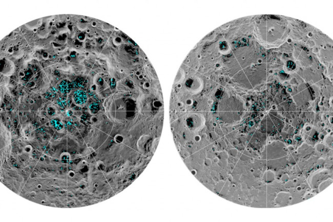 Here there be water! The maps show the distribution of surface ice at the Moon's south (left) and north (right) poles. (Credit: NASA)