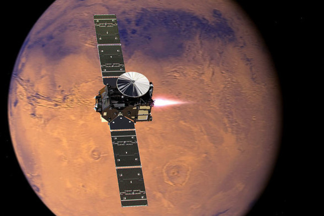 The Trace Gas Orbiter arrived at Mars in 2016. (Credit: TG MEDIALAB/ESA)