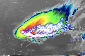 Monster Thunderstorm Cluster Charging from Kansas to Texas is Captured in Astonishing Satellite Views