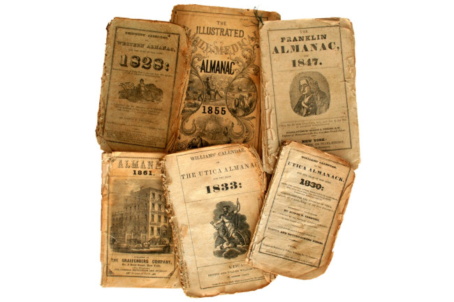 almanacs old farmers collage display - shutterstock
