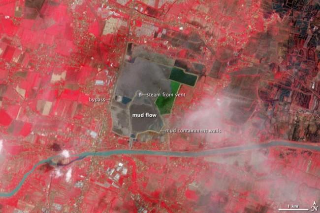 Sidoarjo, false color, 2008 post eruption