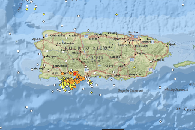 Recent Earthquakes near Puerto Rico, January 2020