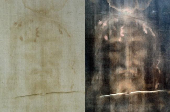 Turin shroud positive and negative displaying original color information 708 x 465 pixels 94 KB