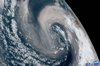 Strong North Atlantic Storm Sucks up Saharan Sand and Dust and Swirls it Into a Giant Cyclone