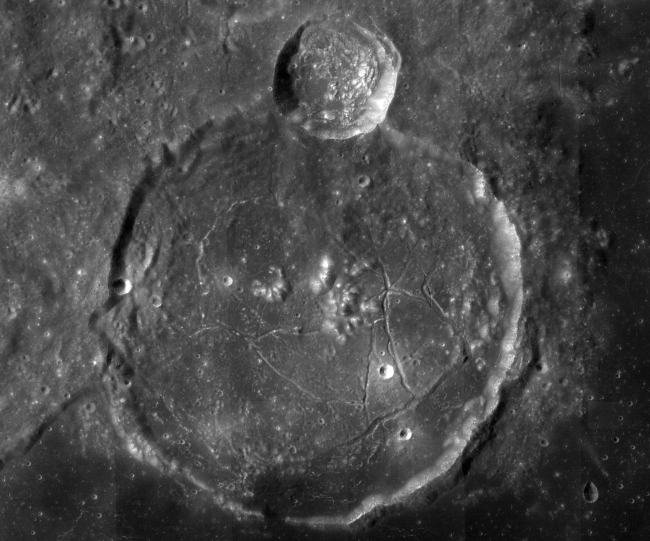 Gassendi, a 110-kilometer-wide lunar impact crater that was flooded with ancient lava, was a possible landing site for Apollo 18. (Credit: NASA/GSFC/ASU)