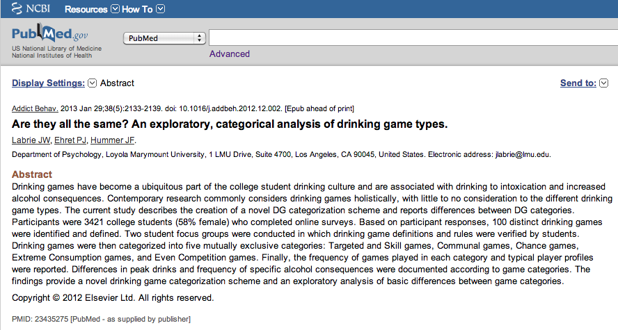 NCBI ROFL: How is beer pong different from beer bong