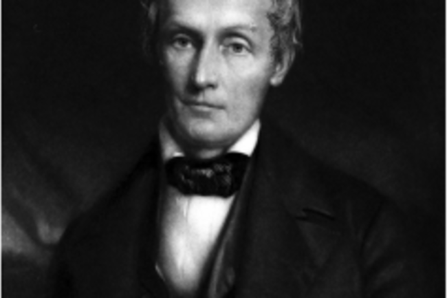 A 19th-century, black and white painted portrait of Samuel Morton.