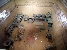 The tomb of Lady Fu Hao at Yinxu. It contained 6 dog skeletons, 16 human slave skeletons, and numerous grave goods. (Credit: Wikimedia Commons)
