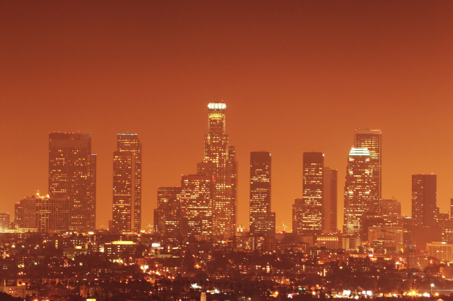 Orange LA Skyline, Light Pollution - Shutterstock