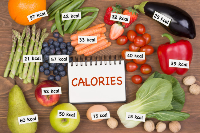 calorie labels on fruits and veggies - shutterstock 1050656288
