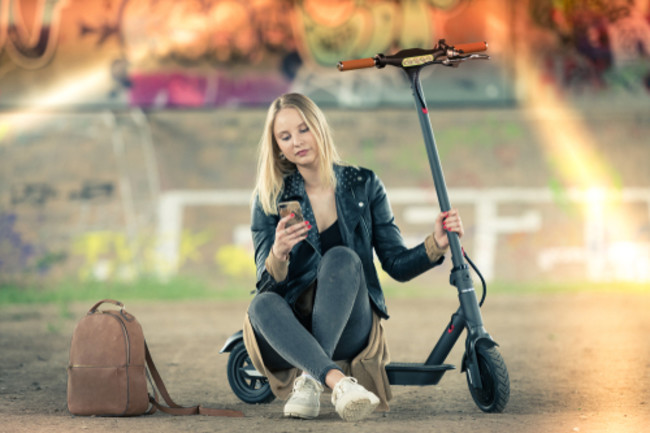 young person electronic scooter