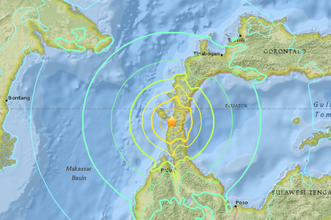 Map showing the epicenter and expected shaking related to a M7.5 earthquake near Palu in Indonesia. USGS.