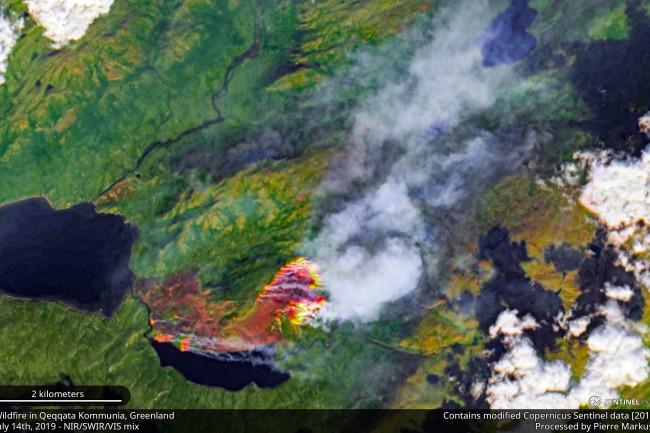 Greenland wildfire - Copernicus Sentinel Data