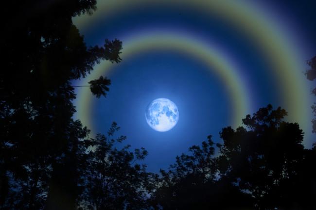 Moon halo moon ring night sky - shutterstock