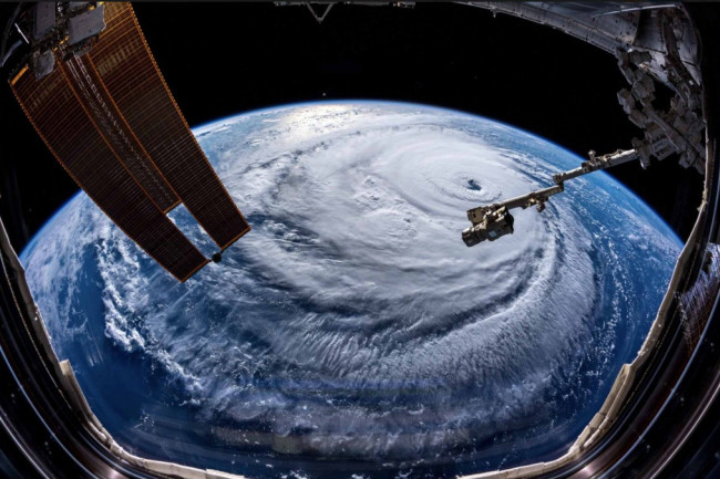 typhoon photographed from international space station