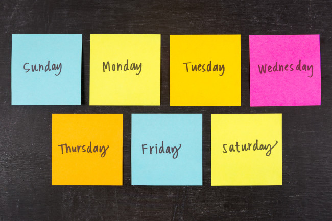 Days of the Week - Shutterstock