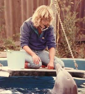 Carol with a dolphin