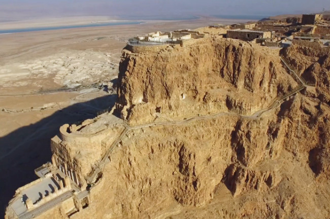 Masada as seen from a drone. (Credit: JP Worthington/Vimeo)