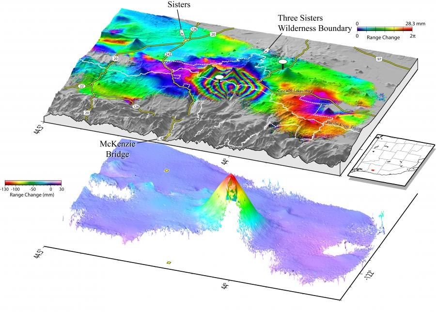 Uplift observed from 1995-2001 on South Sister in Oregon via InSAR observations. USGS.
