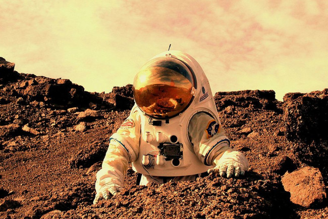 Astronaut working on Mars