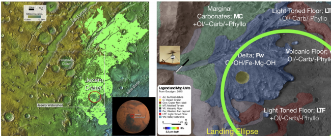 The geology of Jezero crater (Credit: arxiv.org/abs/2012.08946)