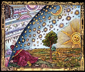 A mystic reaches toward the infinite. This woodcut, adapted in Cosmos to depict Bruno, actually appeared in a 19th-century popular science text. (Credit: Camille Flammarion)