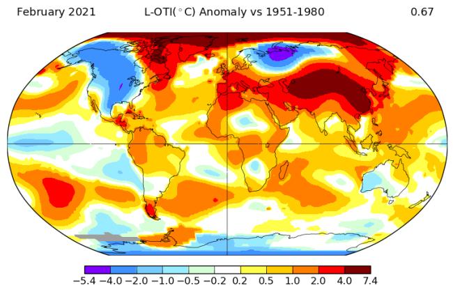 February 2021 Temperature Anomalies