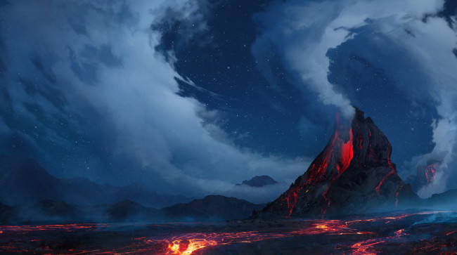 smoke swirling from a volcanic eruption hot lava - shutterstock