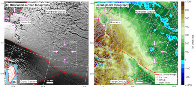 Two topographic maps showing the proximity of the Hiawatha crater and the newly found structure under Greenland's ice sheet.