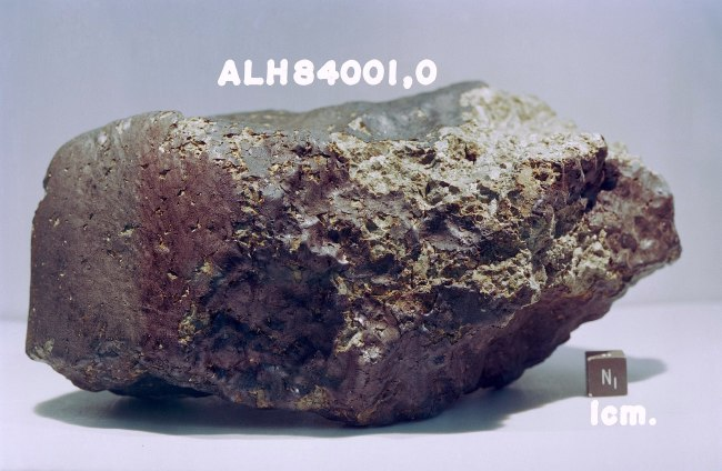 Mars is the only place in the universe where we might hope to find physical rather than molecular traces of life. But studies of Martian meteorite ALH84001 came up empty. (Credit: NASA/JSC)