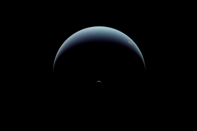 Crescent Neptune seen by Voyager 2 on August 31, 1989. The spacecraft was looking back at the known planets, even as it was racing off toward uncharted space. (Credit: NASA/JPL-Caltech/Justin Cowart)