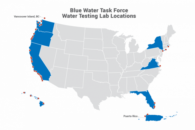 Blue Water Task Force Water Testing Lab Location Map - Surfride Foundation