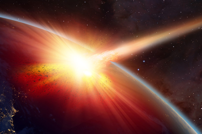 comet asteroid hitting planet earth in space - shutterstock