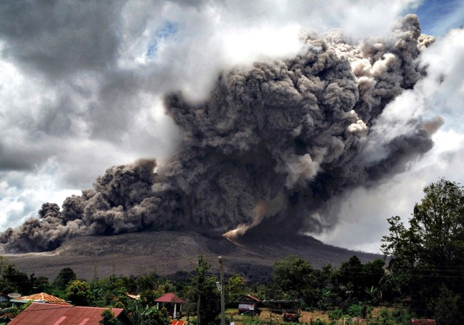 ash cloud erupts from Mount Sinabung in Indonesia