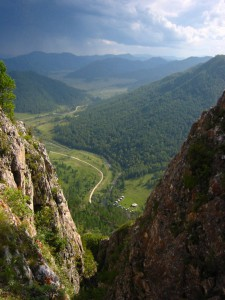 View of the valley from above the Denisova Cave archaeological site, Russia. (Credit: Bence Viola, Max Planck Institute for Evolutionary Anthropology)