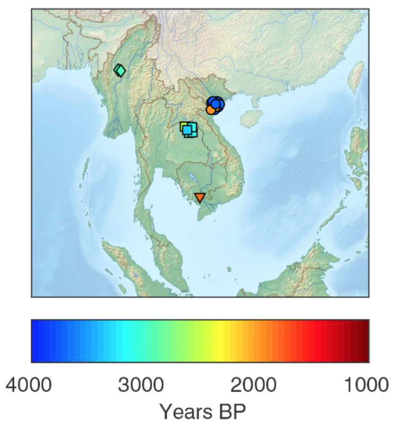 Ancient DNA samples included in the study came from five different sites across Southeast Asia and ranged from 1,700 to more than 4,000 years old. (Credit: Lipson et al 2018, http://science/sciencemag.org/lookup/doi/10.1126/science/aat3188)